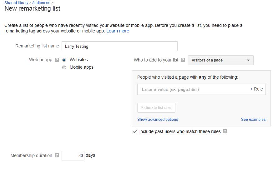 Content remarketing new remarketing list screenshot