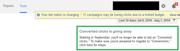 converted clicks going away