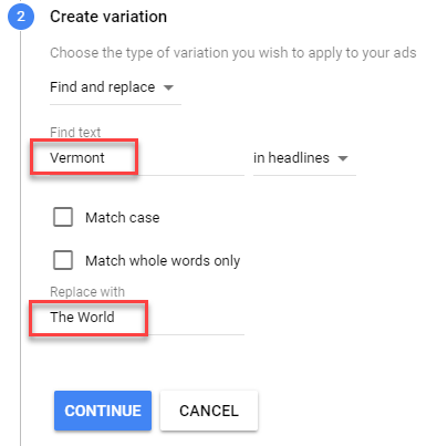 create adwords ad variations