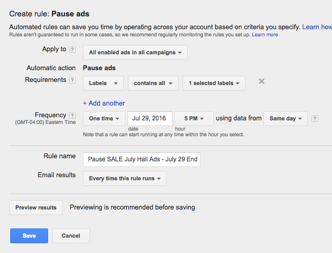 creating automated rules in google adwords