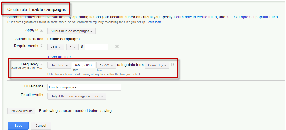Create Automated Rule in AdWords