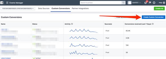 create custom conversion facebook