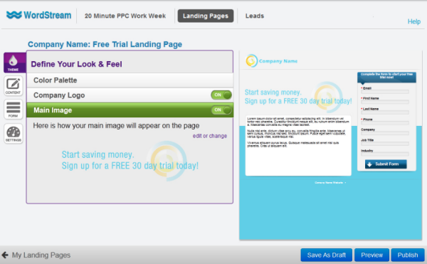 landing page theme creator from WordStream