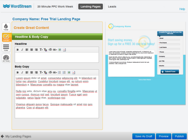 WordStream's headline and body copy creator