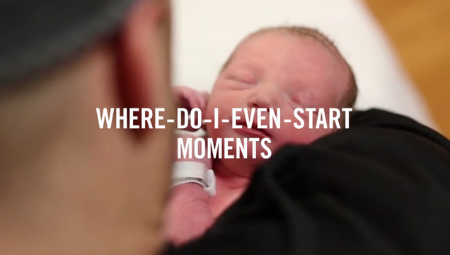 Cross-device image from Google's micro-moments video of a father holding his baby in a micro-moment