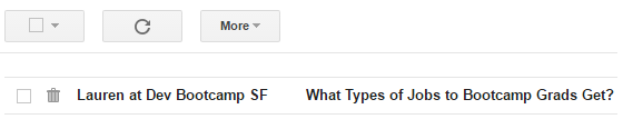 Curiosity gap email subject line example
