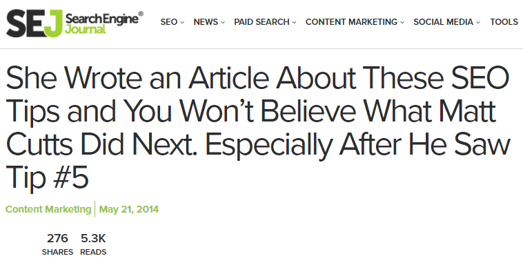 Curiosity gap Search Engine Journal clickbait article example
