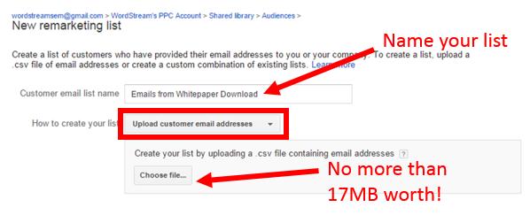 customer match setup email upload