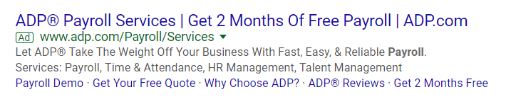 Customer pain points ADP payroll PPC ad example