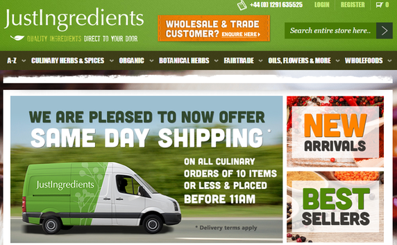 Just Ingredients website