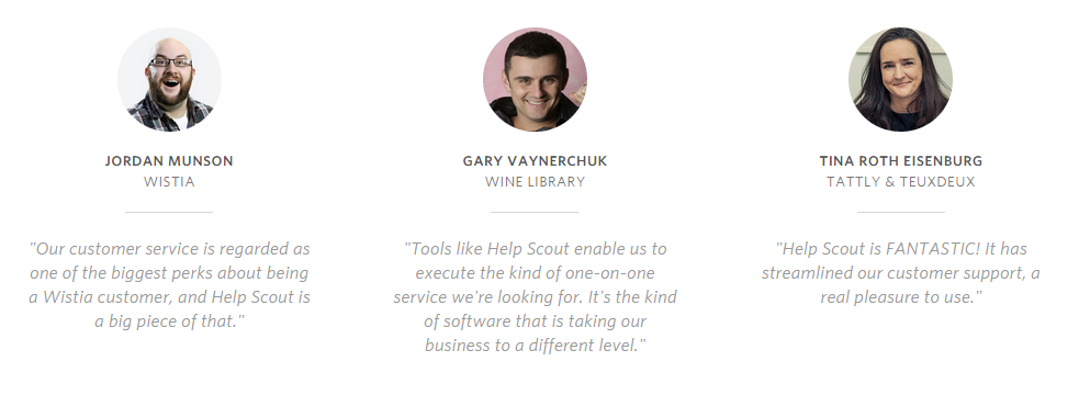 Customer testimonials Help Scout