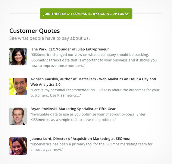 Customer testimonials highlight ideal customers