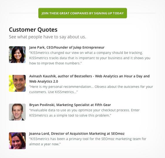 Customer testimonials highlight ideal customers