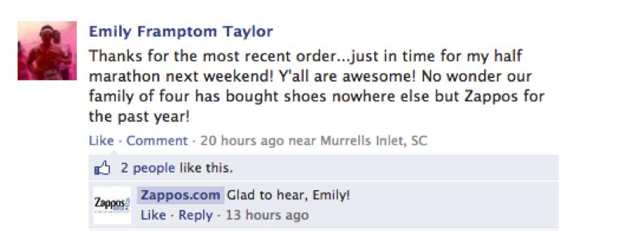 Customer testimonials Zappos Facebook