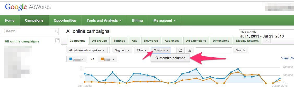 activate analytics in adwords
