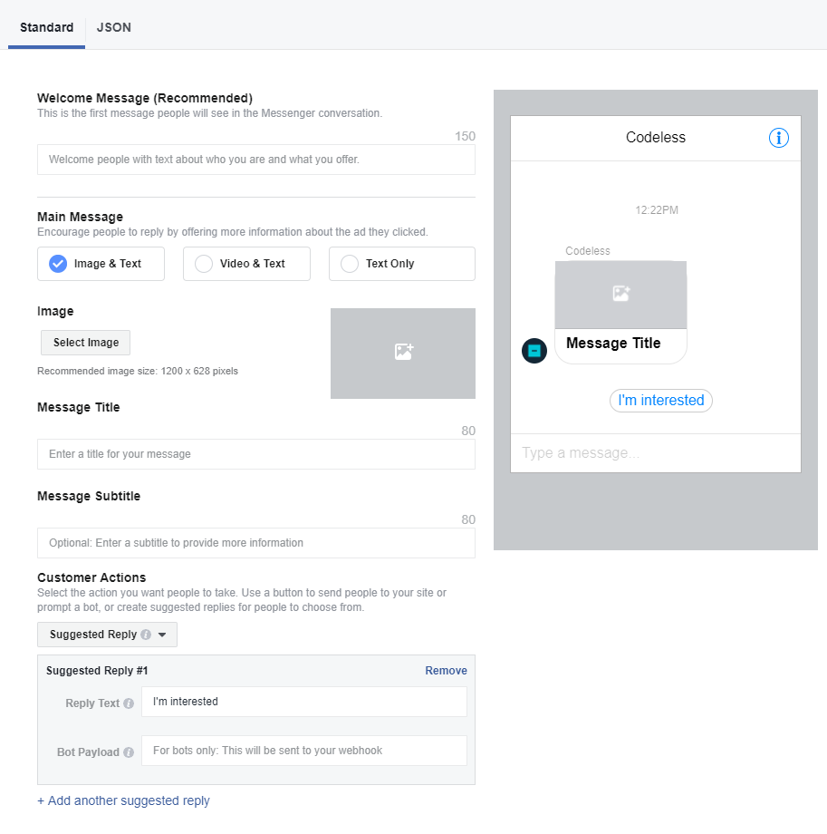 customize facebook message
