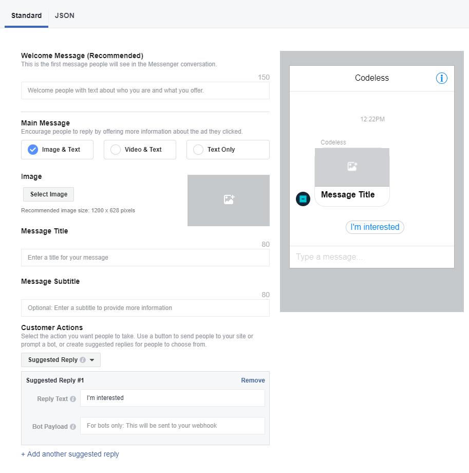 customize facebook message
