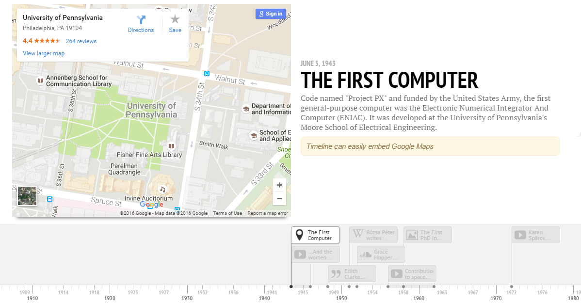 Data visualization tools TimelineJS