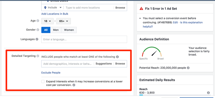 detailed manual targeting for facebook ads