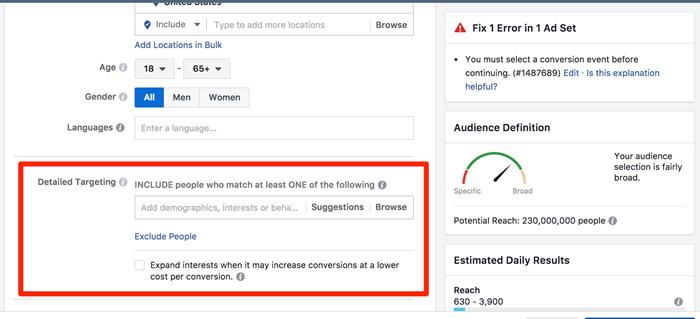 detailed manual targeting for facebook ads