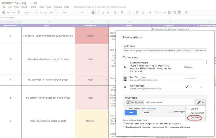 digital marketing agency tool google sheets
