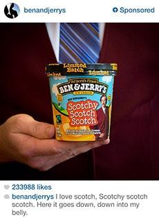 ben and jerry's anchorman instagram ad