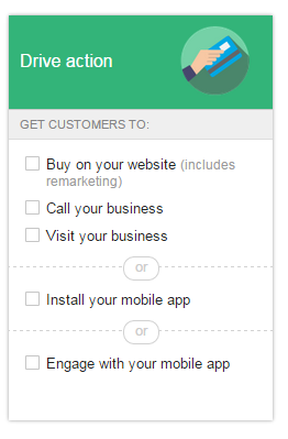 New Google Display Network interface Drive Action options