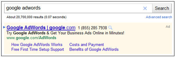 Display URL in AdWords Headline