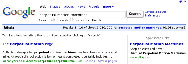 Does Google AdWords Work? Screenshot from eBay's poor use of DKI
