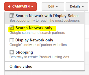 Does Google AdWords work - screenshot of selecting Search Network only.