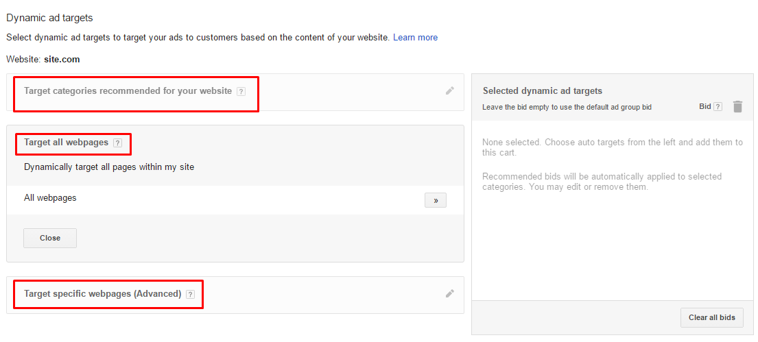 dynamic search ad targets
