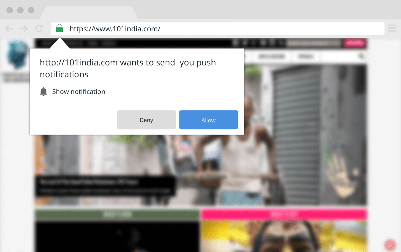 Ecommerce retention browser push notifications pop-up dialog box