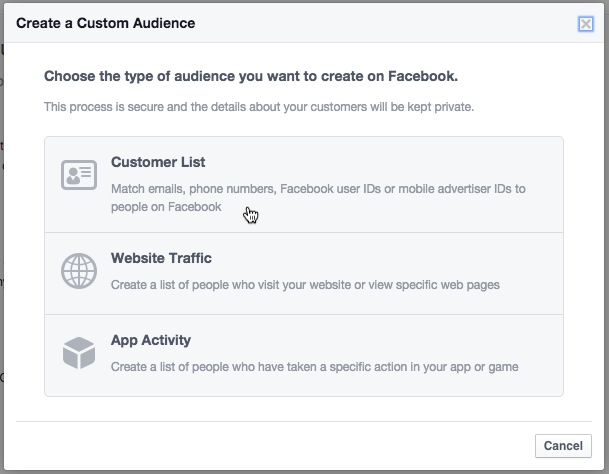 Ecommerce retention Facebook Ads create custom audience settings