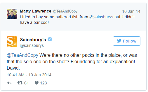 Ecommerce retention Sainsburys tweet example