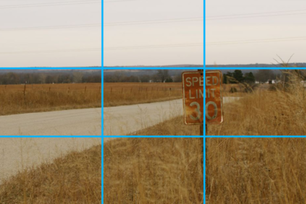 Editing marketing videos Rule of Thirds applied to landscape