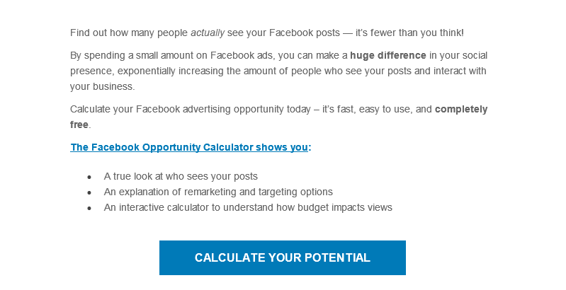 Email optimization Facebook email example