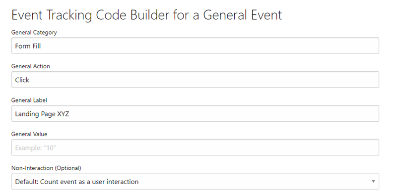 event tracking code builder for custom events