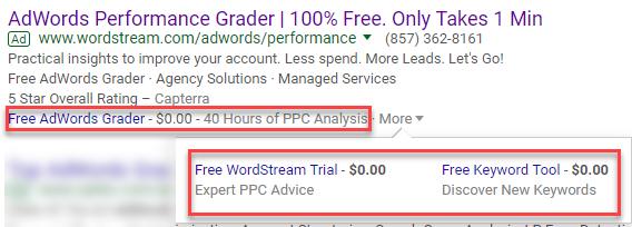 zero dollar price extension google adwords