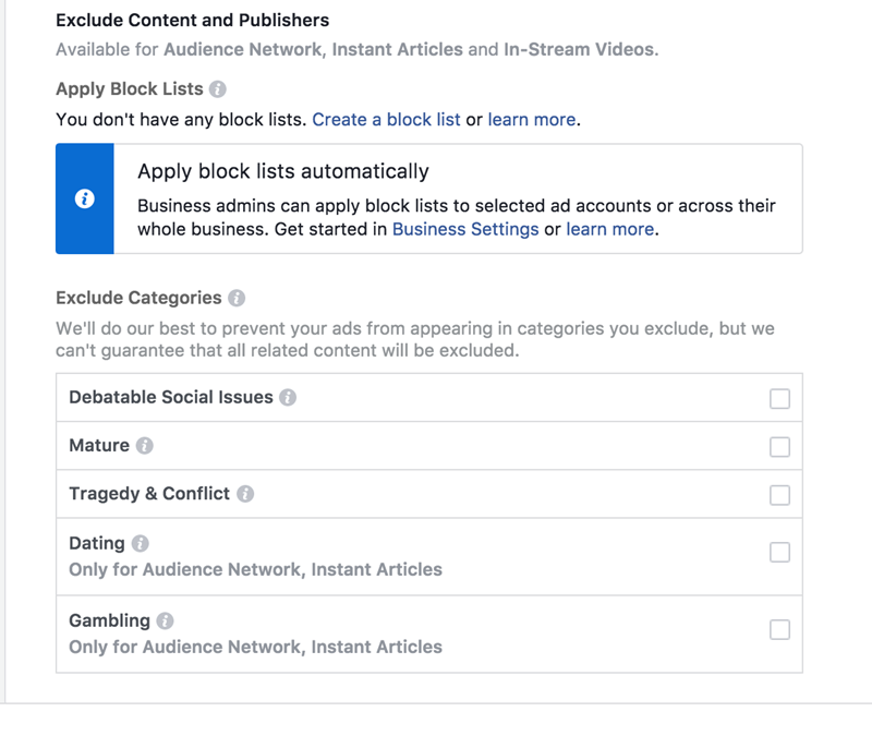 facebook ads exclude audience network specific content and publishers