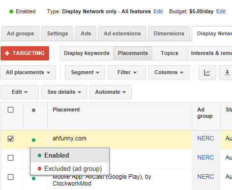 Google Display Network tips exclude placement on GDN
