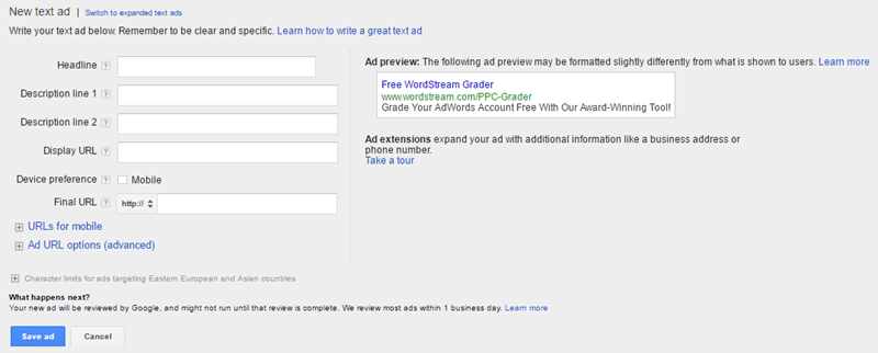 expanded text ad interface within the adwords ui