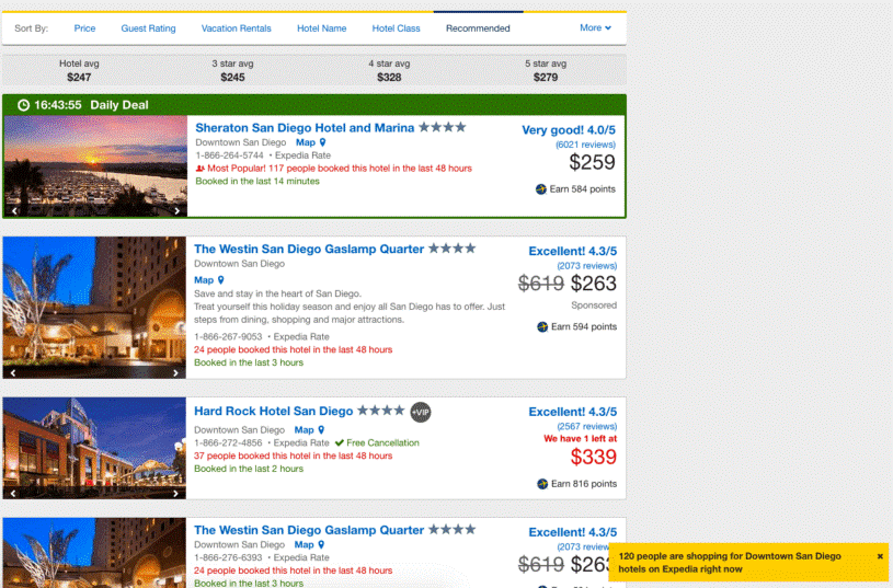 expedia product attributes for urgency