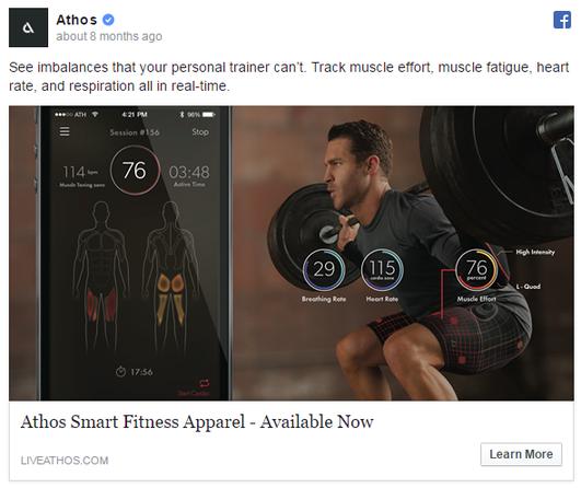 Facebook ad examples Athos