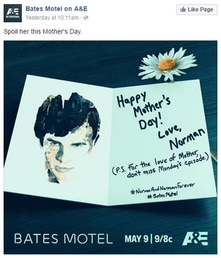 Facebook ad examples A&E Bates Motel