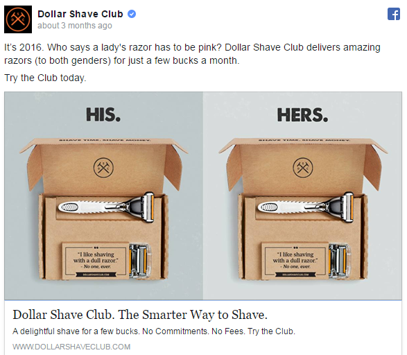 Facebook ad examples Dollar Shave Club
