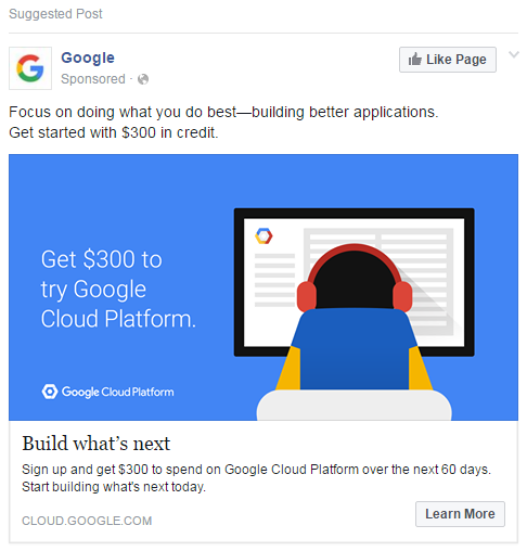 Facebook ad examples Google