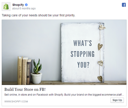 Facebook ad examples Shopify