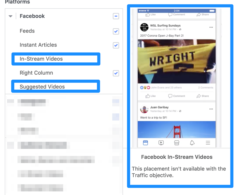 facebook ad placement optimization for in stream video ads