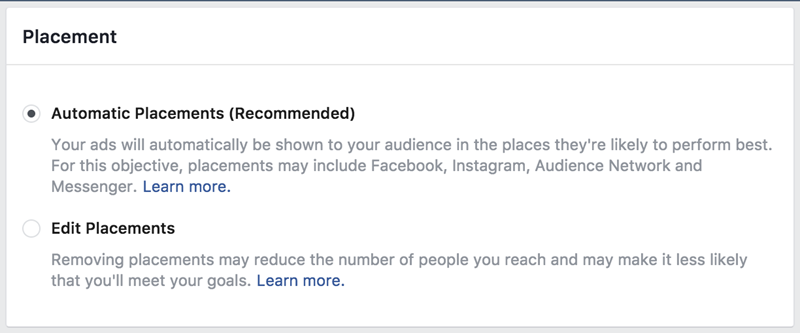 facebook ad placement options automatic vs edit
