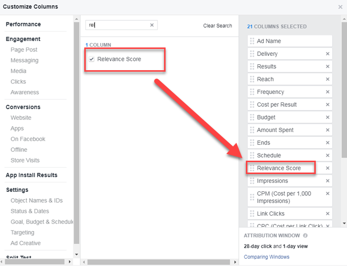facebook ads manager creating custom view for relevance score and expected feedback